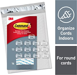 Command Round Cord Clips, Indoor Use, Clear (CL017-13NA)