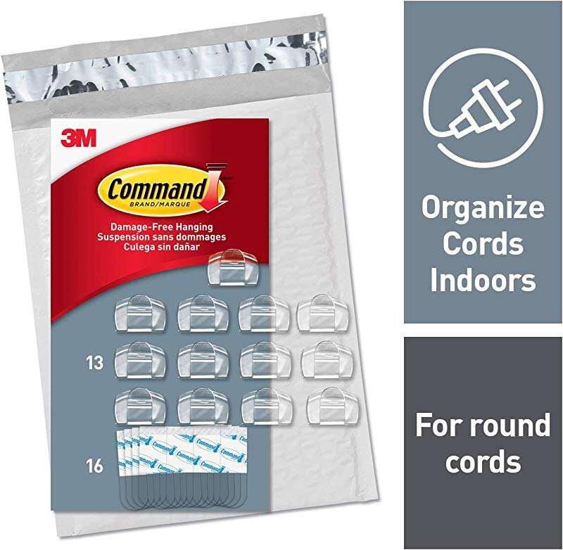 Command Round Cord Clips Indoor Use Clear CL017 13NA