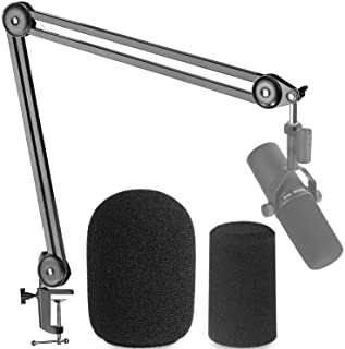 Shure SM7B Boom Arm Mic Stand with 2 Types of Pop Filter - Professional Broadcast Boom Arm for Shure SM7B with 2 PCS Foam ...