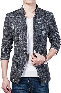 YOUTHUP Men's Blazer Slim Fit Modern Tweed Coat Short Type Stylish Jacket Black