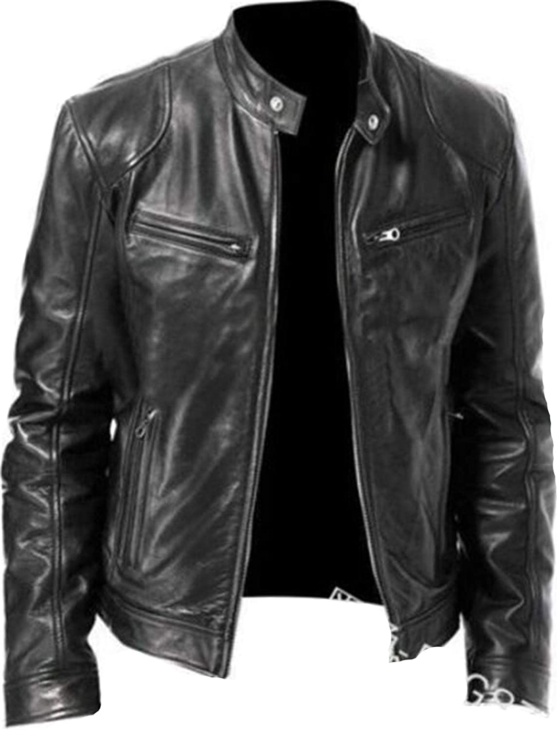 Soluo Men's Vintage Bomber Sacramento Max 67% OFF Mall Motorcycle Collar Lined Stand Fleece