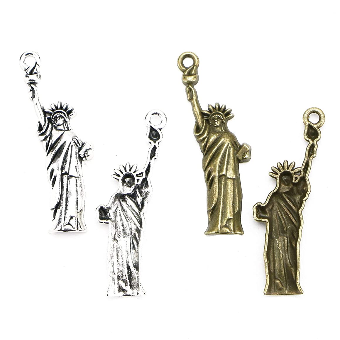 Monrocco 50Pcs 2 Colors Statue of Liberty Charms Pendant,Alloy Charms Pendant for Jewelry Making and Crafting