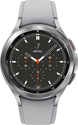 Samsung Electronics Galaxy Watch 4 Classic 46mm Smartwatch with ECG Monitor Tracker for Health Fitness Running Sleep Cycles GPS Fall Detection Bluetooth US Version, Silver