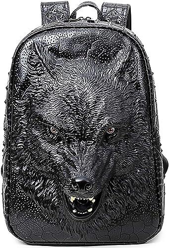 Creative Sac à Dos Pu Sac à Dos En Cuir Pour Ordinateur portable Sac Femme 3D Loup Tête Personnalité Cool Sac à Dos