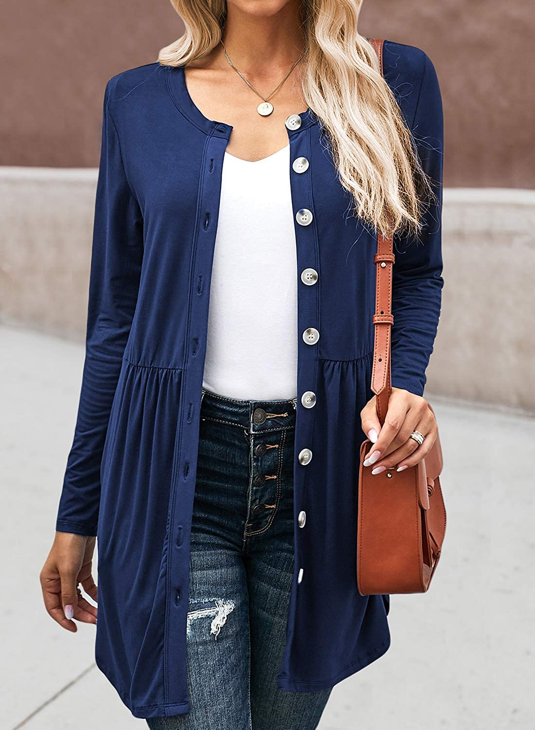 SANDERY Womens Long Sleeve Cardigan Open Front Button Down Pleated Draped Casual Solid Color Coat Outwear