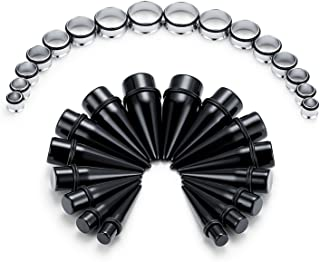 FECTAS 32 Pezzi Dilatatore Orecchio Kit UV Acrilico Taper a Punta & Acciaio Chirurgico Plug a Tunnel Gauges (00G-24mm)