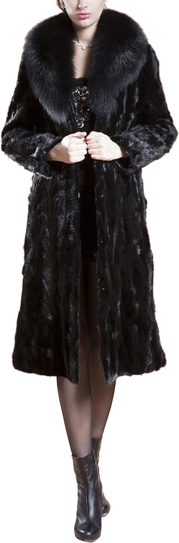 Women's Fashion Maxi Thick Lapel Faux Fox Fur Overcoat Long Warm Jacket Coat