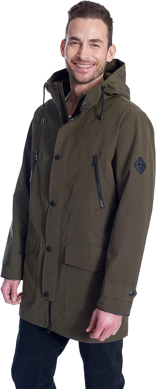 Alpine North Men's Raincoat | Weatherproof Storm Jacket with Drawstring Hood | Large, Army