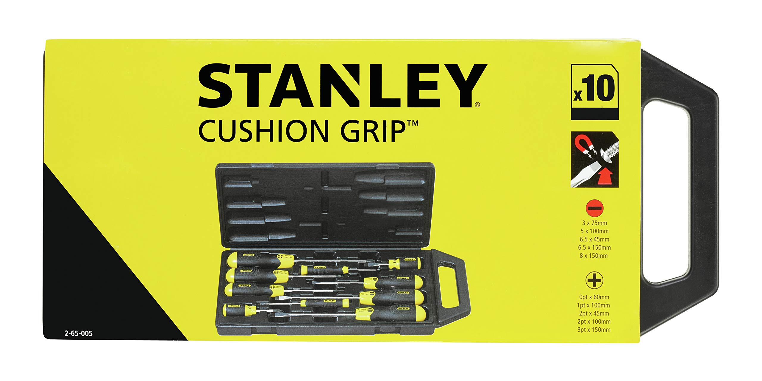 "Stanley 2-65-005 PH""Cushion Grip"" Screwdriver, Multi-Colour, Set of 10 Piece"