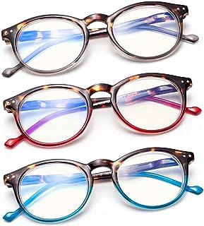 3 Pack Leesbril Blauw Licht Blokkeren Vintage Vergrootglas voor Lezen 3.50