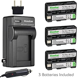Kastar Battery 3-Pack and Charger for Sony NP-FS11 and CCD-CR1 CCD-CR5 DCR-PC1 DCR-PC2 DCR-PC3 DCR-PC4 DCR-PC5 DCR-TRV1VE Cyber-Shot DSC-F505 DSC-F505V DSC-F55 DSC-F55V DSC-P1 DSC-P20 DSC-P30 DSC-P50
