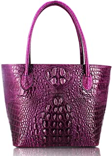 PURPLE Genuine cow leather handbag with crocodile effect embossed wallet purse bag card purse bag hand painted designer tote purses for women girls