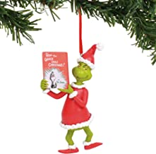 Department 56 The The Grinch with Book Hanging Ornament, 3.25