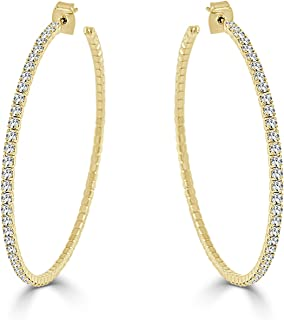 """ARIA + ME Lightweight Crystal 14K Gold Plated Hoop Earring, LARGE -2.25"""""""