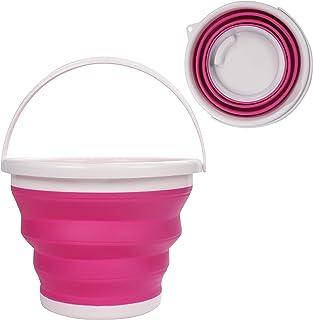 Cubo de Agua Plegable - 10litros Rosado Cubo de Plegable en Plástico Silicona con Asa - Cubo Grande para Pescar, Acampar, Senderismo y Lavar el Coche