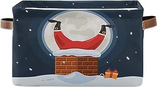 TropicalLife BGIFT förvaringskorg jul jultomten skorsten snö rektangel förvaring kub tunna med handtag stort tyg hopfällba...