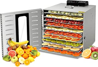 KWASYO 新規上場 10層 フードドライヤー 24時間タイマー 30~90°C智能温度設定 野菜ドライヤー 食品乾燥機 食品グレード304 ステンレス鋼 (日本語説明書付き)