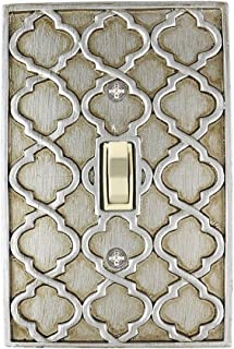 Meriville Moroccan 1 Toggle Wallplate, Single Switch Electrical Cover Plate, Aged Silver
