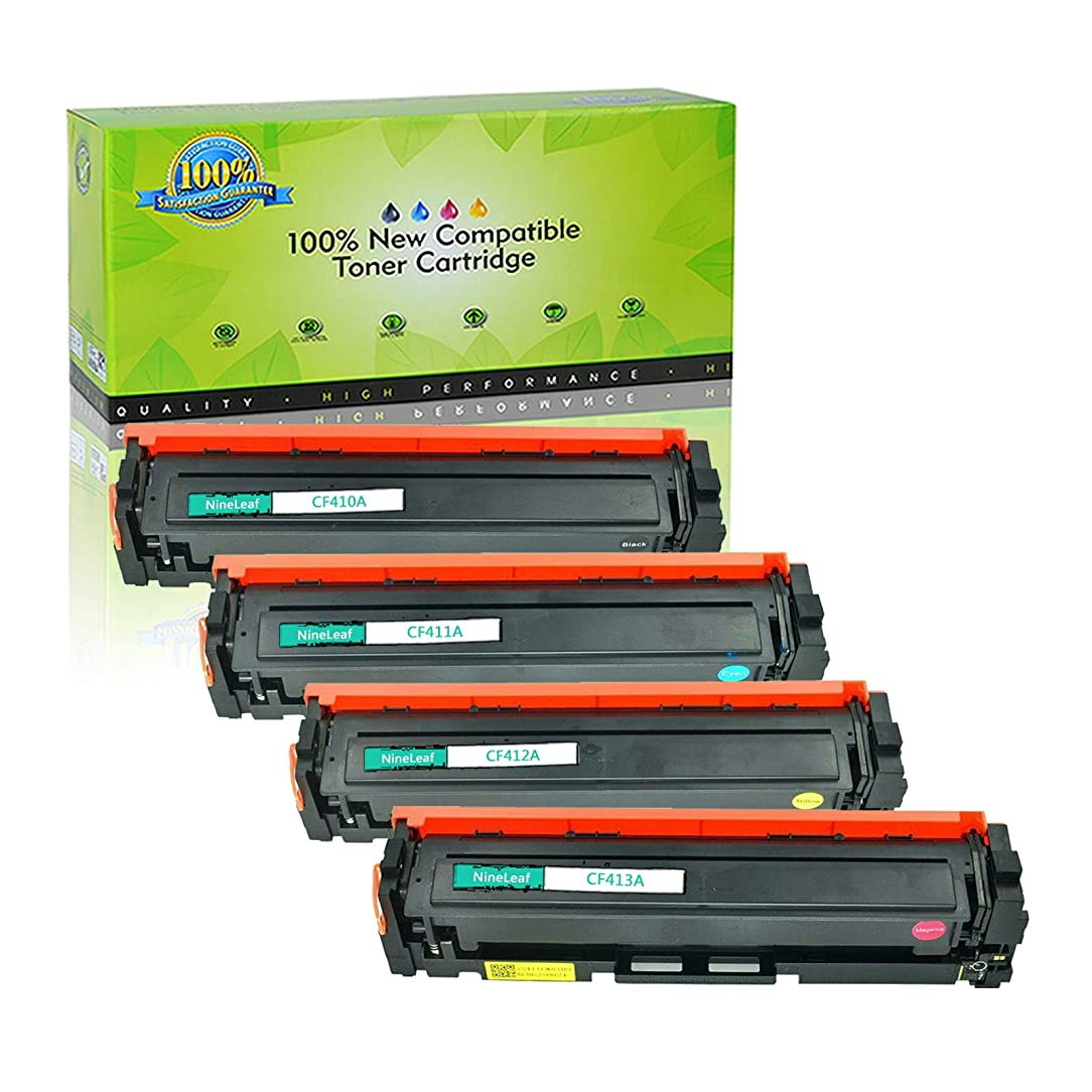 NineLeaf Compatible Toner Cartridge Replacement for HP 410A CF410A CF411A CF412A CF413A Black Cyan Magenta Yellow for HP Color Laserjet Pro MFP M477fdn M477fdw M477fnw M452dn M452nw M452dw Printer