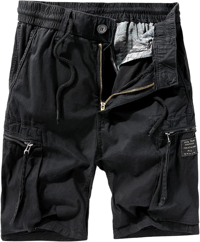Wantess Men's Summer Cargo Shorts Fashion Stitching Zipper Pockets Casual Loose