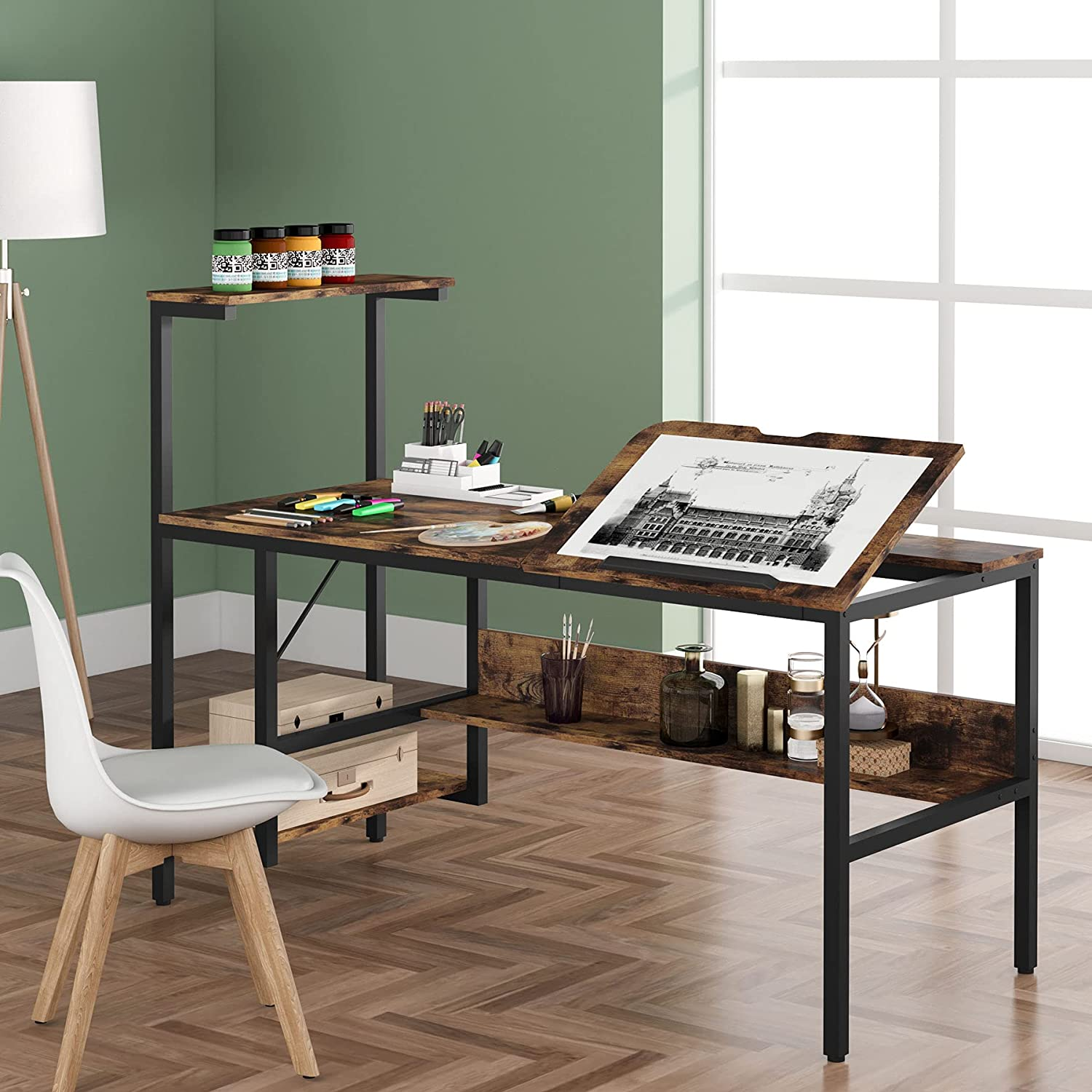 Tribesigns Drafting Max 45% OFF Table with Washington Mall Storage Shelves Inch 55 Drawing