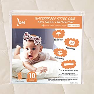 Lofe Organic Cotton Fitted Crib Mattress Protector Waterproof - Infant Breathable Crib Mattress Pad - Toddler Baby Crib Mattress Cover