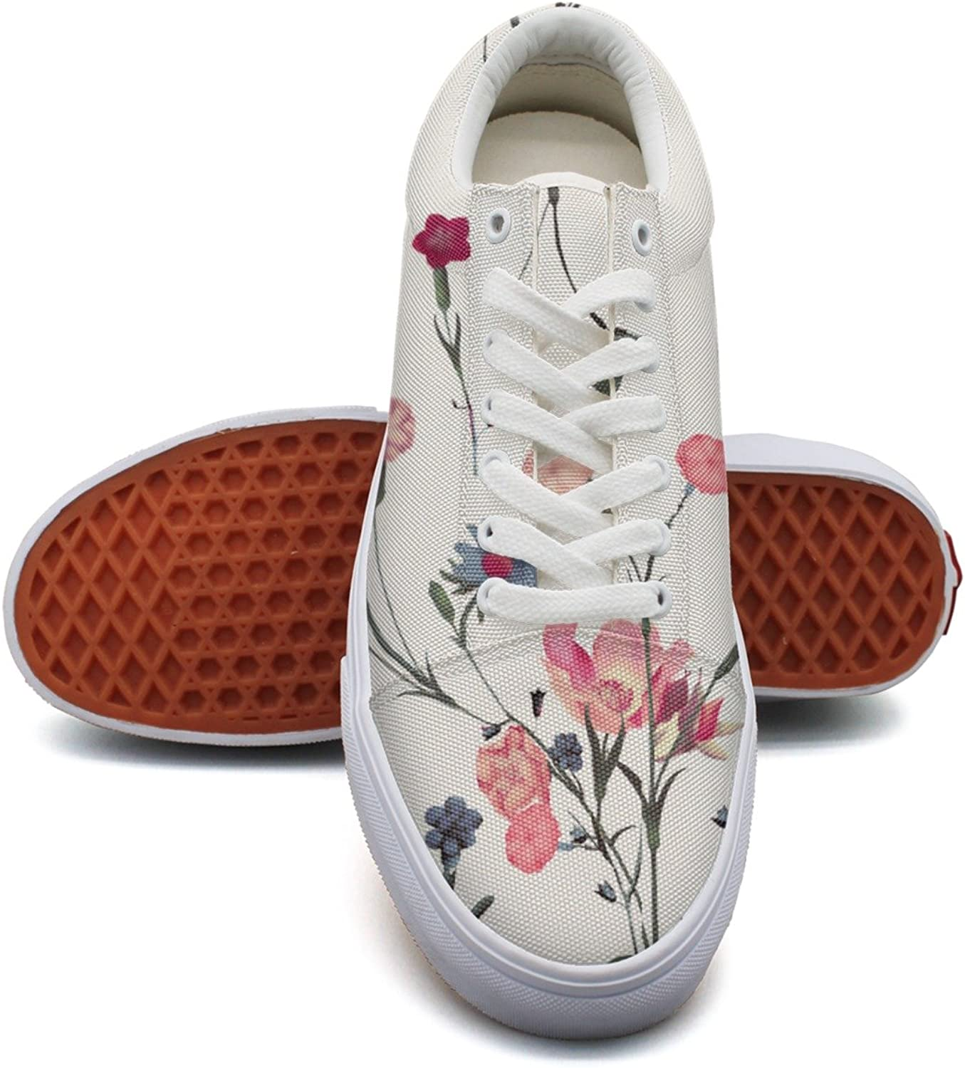 Vintage Floral Carnations Fashion Canvas Sneaker For Womns 3D Printed Low Top Running shoes