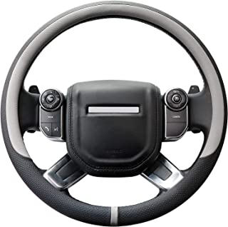 COFIT Breathable and Non Slip Microfiber Leather Steering Wheel Cover Universal L 15 2/5-16 1/5 Inch - Gray and Black