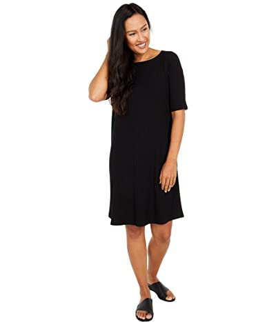 Eileen Fisher Bateau Neck Short Sleeve Dress (Black) Women