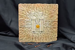 Unusual Handmade Ceramic Wall Panel Decorative Wall Tile bas Relief Sculpture