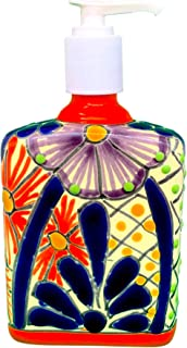 Casa Fiesta Designs Talavera Ceramic Soap & Lotion Dispenser, for Kitchen or Bathroom Countertops - Hand Painted Mexican Pottery - Jabonera (Multicolor)