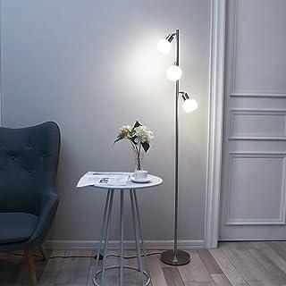 Bojim Lampadaire sur Pied Salon, 3 Spots Orientables E14, Lampadaire Led Industriel en Nickel, 4W Eq.40W 4500K 320LM 230V ...