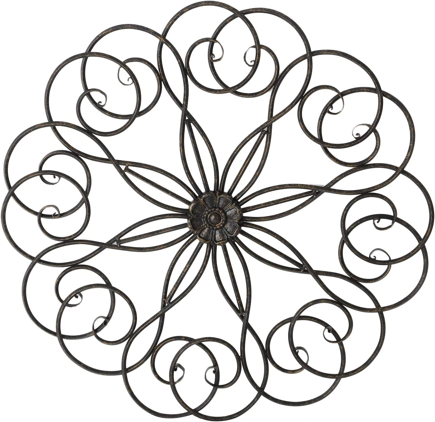 Homebeez Round Metal Wall Decor Copper Flower Home Art Decoration for Living Room/Kitchen - 28.3x28.3 Inches