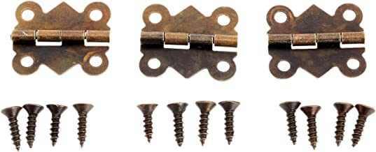 Dophee 12Pcs Antique Brass Butterfly Hinge for Jewelry Chest Box Wood Cabinet Door Deco - Small