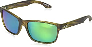 O'Neill Anso 109P Polarized Wayfarer Sunglasses, Matte Seagrass/Green Revo, 57 mm
