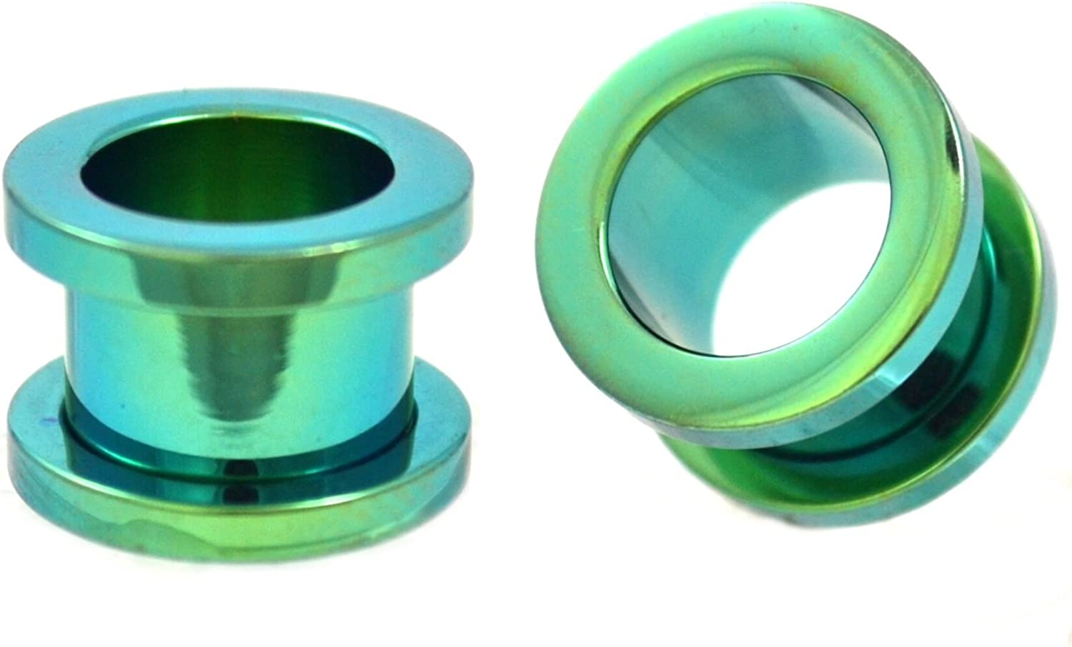 Pair of Green Titanium Plated Steel Fit Plugs Screw Ear New Shipping Free New product!! Tunnels