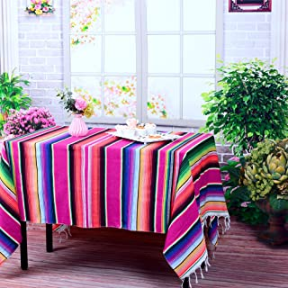 LGHome 59 x84 inch Mexican Blanket Tablecloth Mexican Cotton Serape Fabric Table Cover for Mexican Fiesta Party Supplies