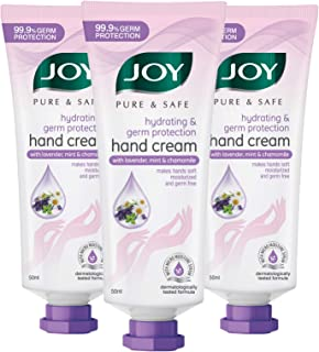 JOY Pure & Safe Hydrating & Germ Protection Hand Cream with Lavender, Mint & Chamomile (Pack of 3 X 50ml)