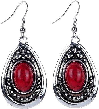 Yazilind Boucles d'oreille ovales en argent tibétain avec pierre pour femme