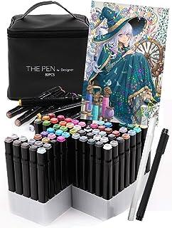 THE PEN for Designer マーカーペン 80色 セット【2019年ver. 】ペンスタンド ホワイト ライナーペン 付き イラストマーカー アルコールマーカー 建築