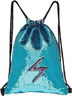 MHJY Sequin Bag Mermaid Drawstring Backpack Sports Beach Dance Bag (Blue/Pink)