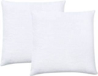 PHF Waffle Euro Sham Cover 100% Cotton Square Throw Pillow Cover for Bed Couch Sofa Pack of 2 26