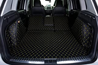 Bonus-Mats Custom Fit All-Weather Full Coverage Waterproof Car Cargo Liner Trunk Mat for Land Rover LR2 Freelander 2 2008-2015 Black with Gold Stitching