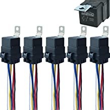 Best 5 Pack 40/30 AMP 12 V DC Waterproof Relay and Harness - Heavy Duty 12 AWG Tinned Copper Wires, 5-PIN SPDT Bosch Style Automotive Relay Reviews