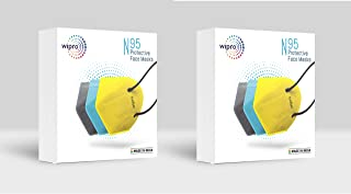 Wipro N95 Non-Woven Fabric Reuseable Face Mask (Pack of 6, Without Valve, Grey/Yellow/Blue) for Unisex