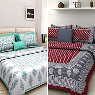 Rajasthani Traditional Floral Print 100/% Cotton Bed Sheet With 2 Pillow Covers