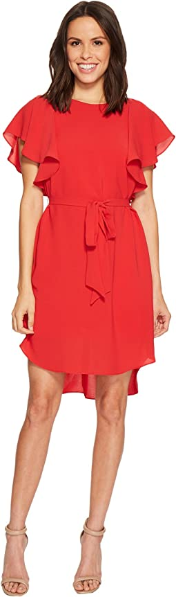 Adrianna Papell - Gauzy Crepe A-Line Dress with Short Flutter Sleeves, Bateau Neckline, and Shirt Tail Hem, Partially Lined with Belted Tie