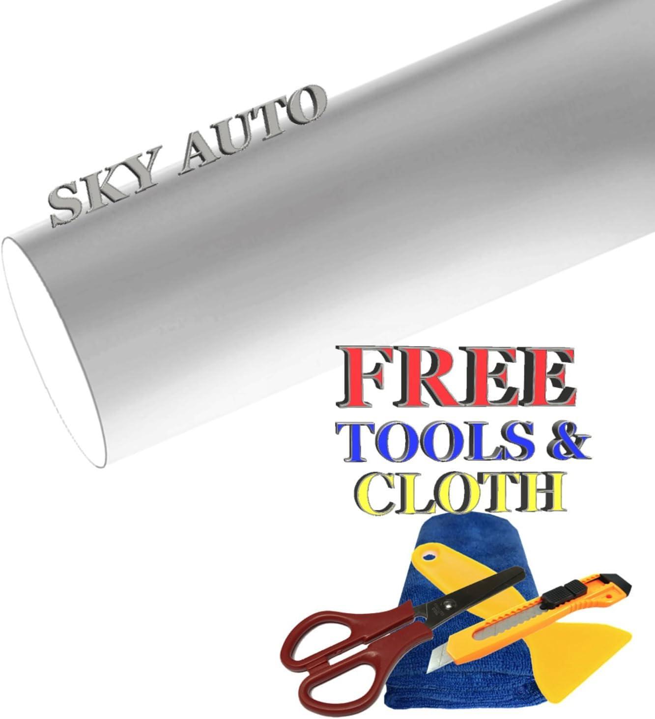 Sky Auto INC Premium Car Max 52% OFF Satin Matte Vinyl W Chrome Plating Inventory cleanup selling sale Film