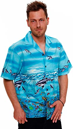 KYs | Original Camisa Hawaiana | Caballeros | S - 4XL | Manga Corta | Bolsillo Delantero | Estampado Hawaiano | Tiburones | turquesa