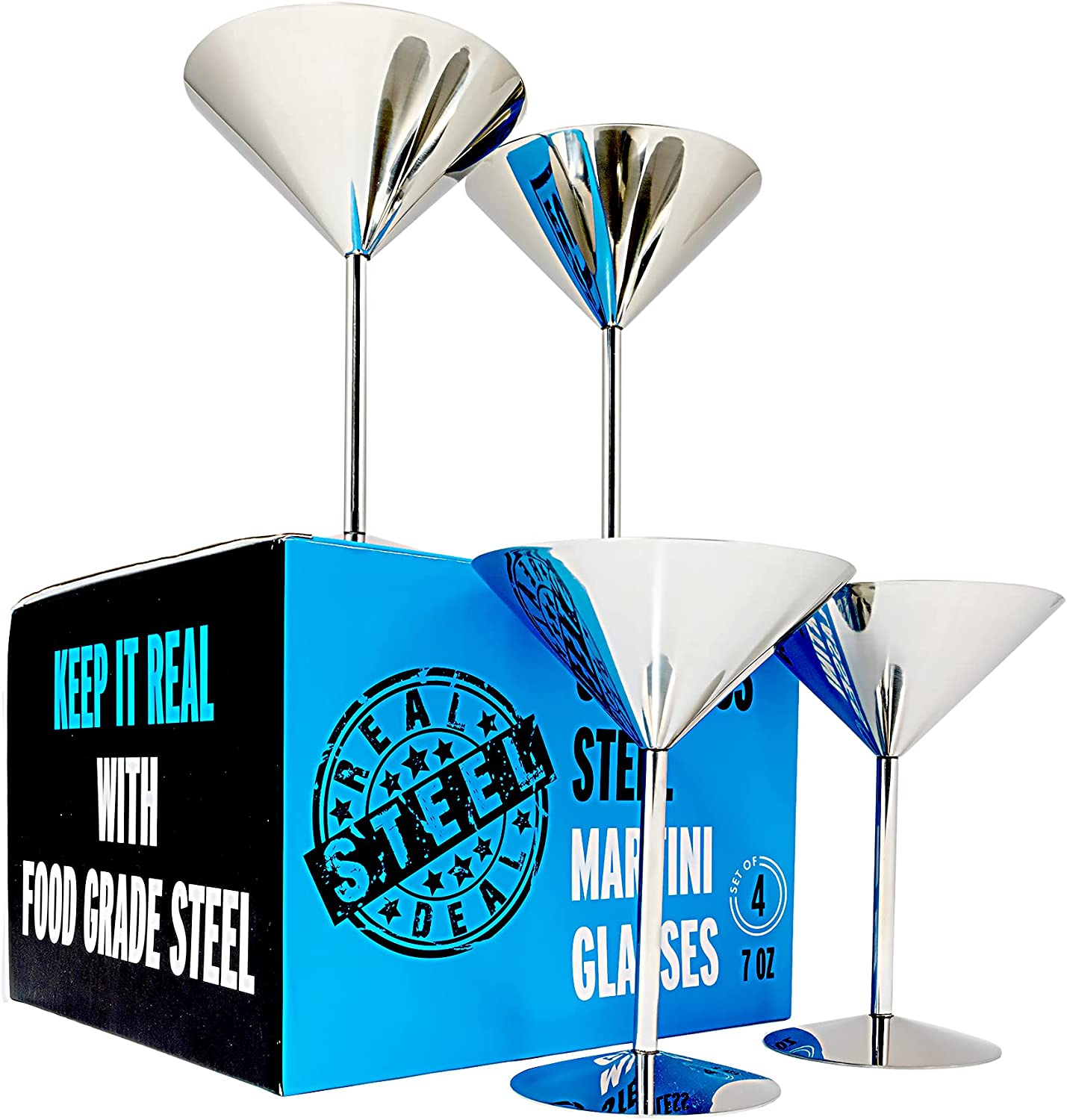 Cheap mail order specialty store Stainless Steel Martini Glasses: Set Shatt Deal Large discharge sale Real of 4